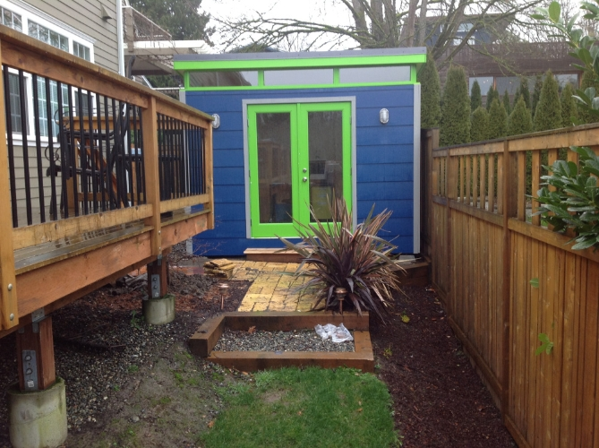 Backyard Man Cave Kits : Sakay chose to outfit the interior with bamboo flooring and a wood