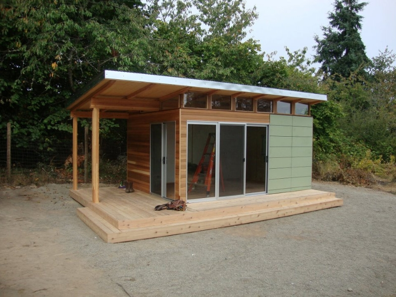 Modern shed home office space to frame a day for Modular studio shed