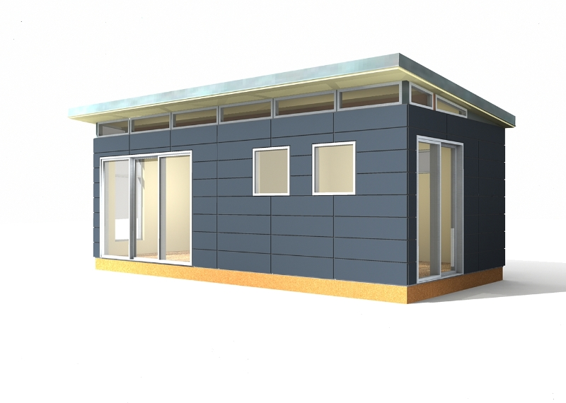 Modern shed kit 12 39 x 24 39 prefabricated shed kits for Contemporary shed kits
