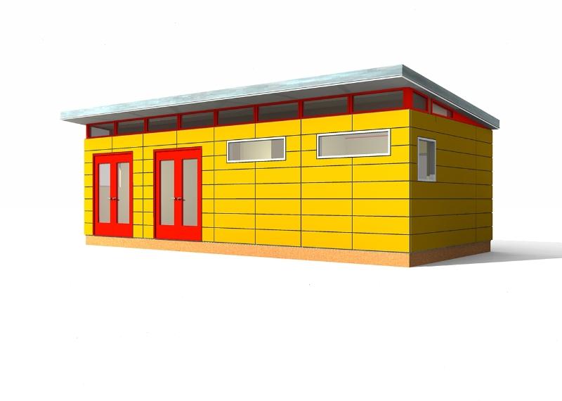 Prefab shed eco home designer pty ltd modern garage for Shed guest house kit