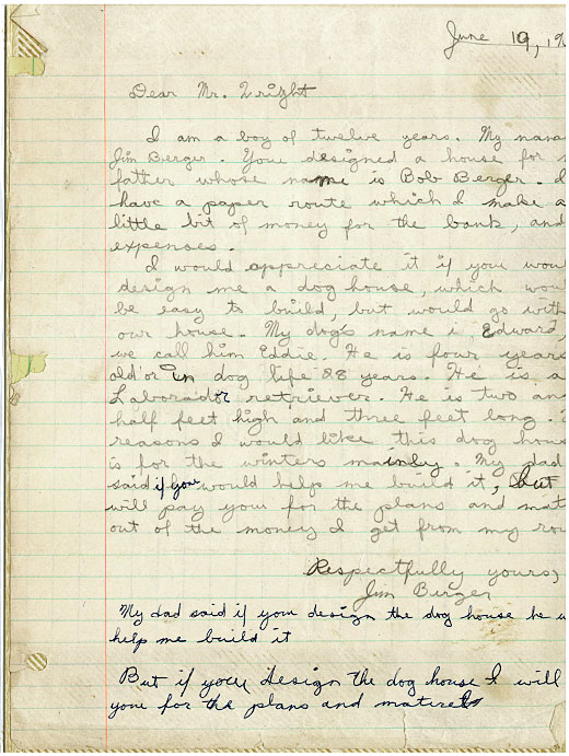 Frank Lloy Wright Doghouse Letter
