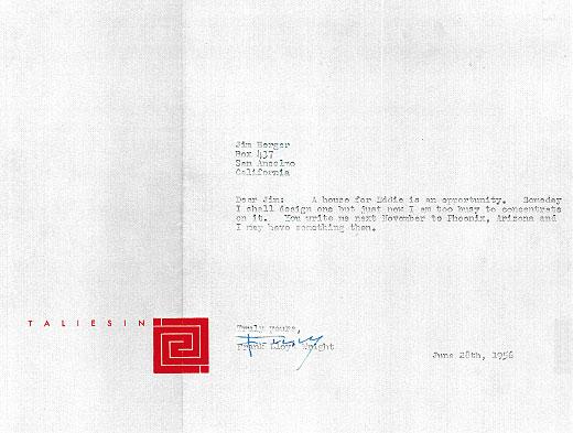 Frank Lloyd Wright Letter