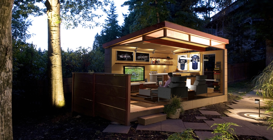 Man cave why every guy or gal needs one westcoast for How to build a modern shed